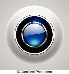 azul, botão, 3d