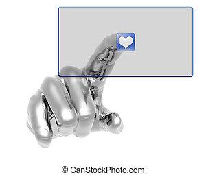 azul, botão empurra, mão, transparente, 3d