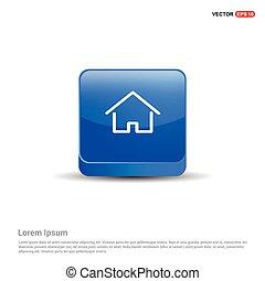 azul, botão, -, lar, ícone, 3d