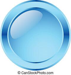 azul, botão, lustroso