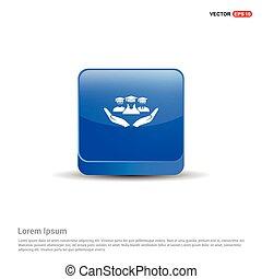 azul, botão, -, mão, usuário, 3d, ícone