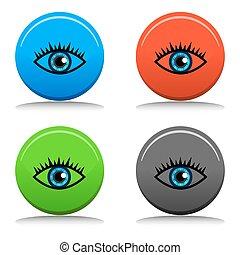 azul, botão, olho, ícone
