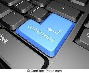 azul, botão, oportunidade, teclado