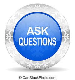 azul, botão, perguntar, perguntas, ícone, natal