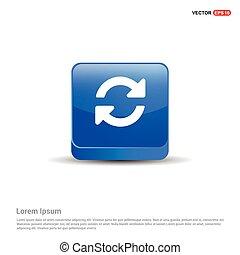 azul, botão, -, reload, ícone, 3d