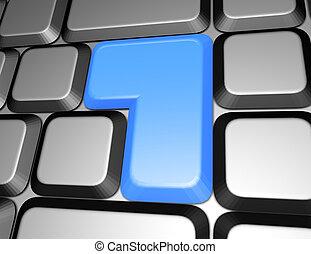 azul, botão, teclado, em branco