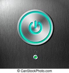 azul, botón de la energía, en, frente, panel, de, computadora