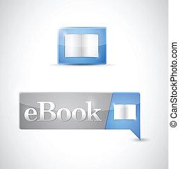 azul, botón, ebook, ilustración, descargue, icono