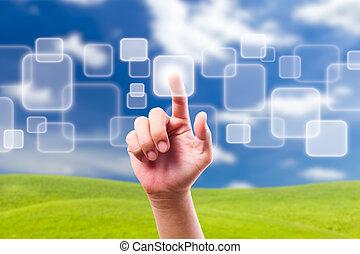 azul, botón empujar, cielo, mano