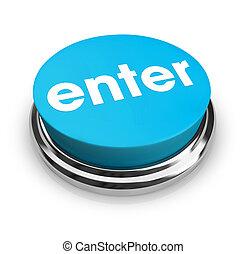 azul, botón, -, entrar