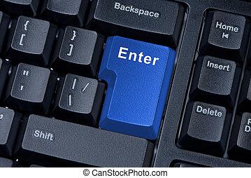 azul, botón, entrar, computadora, keyboard.
