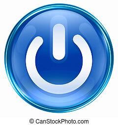 azul, botón, potencia