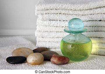 azul, botella, con, aceite del masaje
