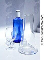 azul, botella, cristal del agua, sombra, transparente