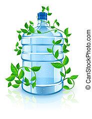 azul, botella, grande, agua bebida, follaje verde, limpio