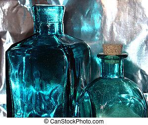 azul, botellas