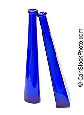azul, botellas, dos