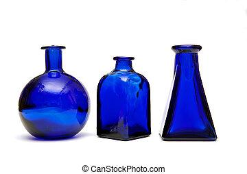 azul, botellas, tres
