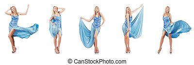 azul, branca, atraente, vestido, mulher