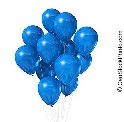 azul, branca, balões, isolado