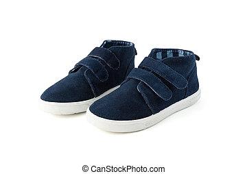 azul, branca, criança, sapatos, isolado