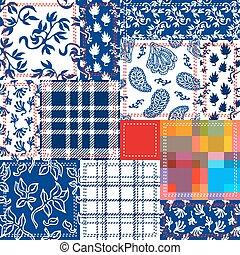 azul, branca, e, vermelho, patchwork., boêmio, estilo, colagem, feito, de, algodão, flaps.
