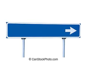 azul, branca, isolado, sinal estrada