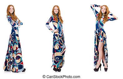 azul, branca, mulher, vestido, atraente