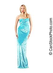 azul, branca, mulher, vestido