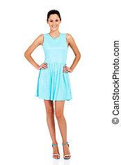azul, branca, mulher, vestido, isolado