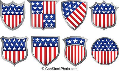 azul, branca, oito, escudos, vermelho