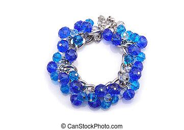 azul, branca, pulseira, fundo
