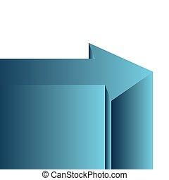 azul, branca, seta, fundo