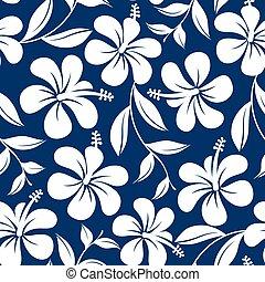 azul branco, tropicais, hibisco, flores, e, folhas, seamless, padrão