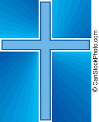 azul, brilhante, crucifixos