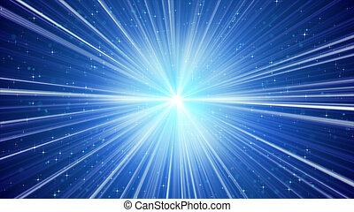 azul, brilhar, raios claros, e, estrelas, fundo