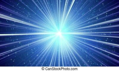 azul, brilhar, raios claros, e, estrelas, loopable, fundo