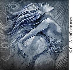 azul, brilho, pelado, ilustração, cores, efeitos, sereia