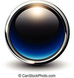 azul, brillante, botón