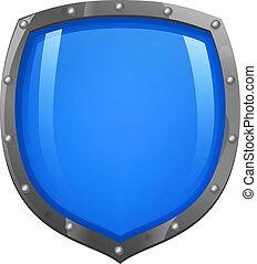 azul, brillante, brillante, protector