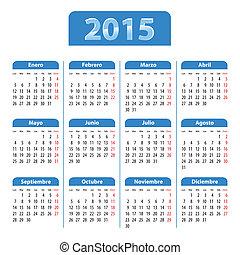 azul, brillante, calendario, para, 2014, año, en, español