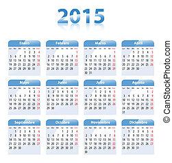 azul, brillante, calendario, para, 2014, en, español