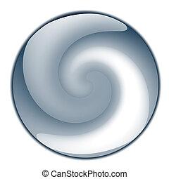 azul, brillante, esfera, o, botón