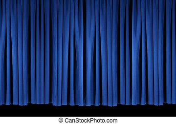 azul, brillante, etapa, cortinas de teatro