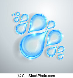 azul, brillante, gotas del agua