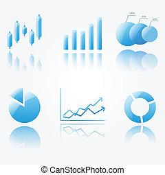 azul, brillante, gráfico, iconos