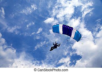 azul, brillante, vuelo, skydiver, sky.