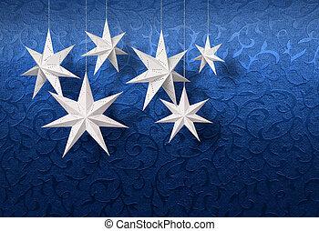 azul, brocado, branca, papel, estrelas