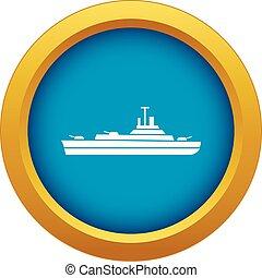 azul, buque de guerra, vector, aislado, icono