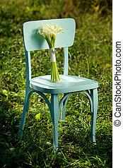 azul, buquet, calla, ao ar livre, flores brancas, cadeira